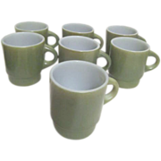 Set of 7 Anchor Hocking Fire King Ware Avocado Green Coffee Mugs