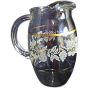 Juice Pitcher with Gold Bands and Frosted Fruit Decorations
