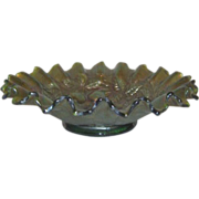 "Iridescent Carnival Glass Bowl by Northwood, ""Three Fruits"" with Ruffled Edges in a"