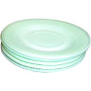 Set of 4 Jadeite Fire King Oven Ware Saucers-