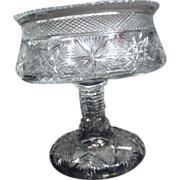 Large Heavy Hand Cut Crystal Footed Signed Bowl
