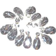 Set of 12 Multifaceted Hanging  Chandelier Crystals (prisms)