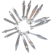 Set of 15 Glass Single Spear Prisms with Attached Round Top