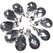 Set of 10 Large Tear Drop Multi-faceted Crystal Prisms with Octagon Top