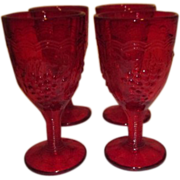 Set of 4 Ruby Red Imperial Glass Cordial Glasses