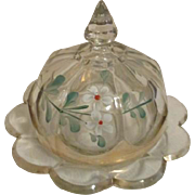 Early Heisey Round Covered Butter Dish with Hand Painted Flowers