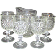 Set of 6 Footed Goblets and Pitcher Diamond Point Indiana Glass Mid Century