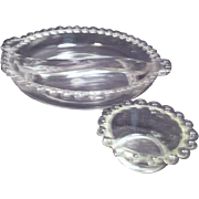 Imperial Clear Glass Candlewick Divided Relish Dish and Salt Bowl