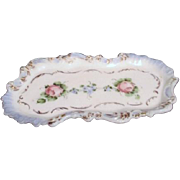 Antique Hand Painted Milk Glass Trinket Tray