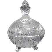 Crystal Lidded Heart Shaped Footed Candy Dish