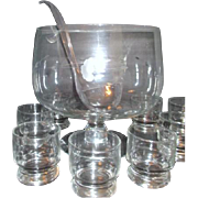 SALE Princess House Heritage Pattern Blown Glass Punch Bowl & 6 Glasses