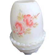 Fenton Fairy Lamp Roses on Custard 1972-83