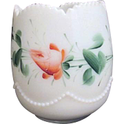 Antique Heisey Opal (Milk Glass) Spooner in Bead Swag Hand Painted Roses