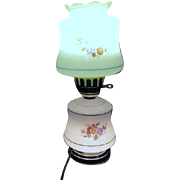 SALE Two Part Glass Electric Lamp with Floral Design
