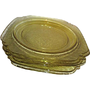 Set of 5 Madrid Amber Depression Glass Luncheon Plates by Federal Glass Co