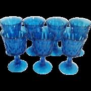 Set of 7 Noritake Perspective Footed Bleu Goblets
