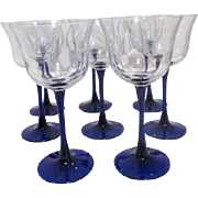 Set of 8 Blue Stemmed Wine Glasses
