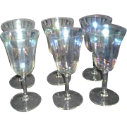 Set of 6 Crystal Clear Glass Iridescent Wine Glasses