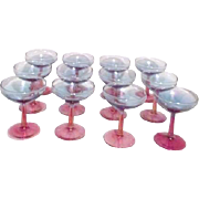 Set of 12 Pink and Blue Iridescent Wine Glasses