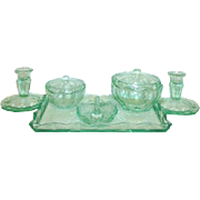 SALE 8 pc. Art Deco Green Depression Glass Vanity Set