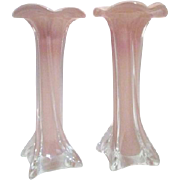 Pair of Brown-Rose Art Glass Vases