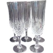 Set of 5 Crystal Champagne Flutes Longchamps Pattern by Cristal d'Arques