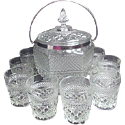 SALE Covered Ice Bucket with 10 Whiskey Glasses Wexford Pattern by Anchor Hocking