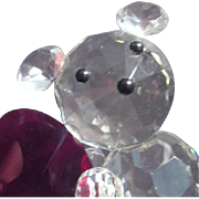 Crystal Teddy Bear with Red Valentine Heart
