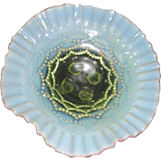Vaseline Glass Footed Bowl with Opalescent Draped Bead Pattern