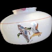 Mid-Century Mallard Duck Ceiling Lamp/Fan Glass Globe Milk Glass Light Fixture