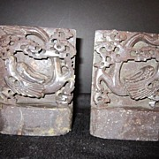 Vintage Hand Carved Soap Stone  Dragon Book Ends