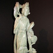 Large Hand Carved Jade Lady Kuan Yin