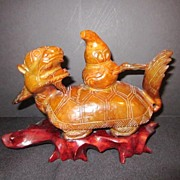 Chinese Stone Carving of Mythical Tortoise/Face of a Dragon