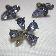 Vintage Blue Crystal screw on earrings with matching broach