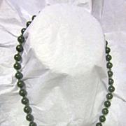 """Vintage 17"""" Strand Green Jade Necklace"""