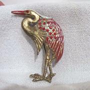 Vintage Goldtone Heron with Red Rhinestones Brooch