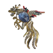 Rooster Goldtone and Enameled Pin