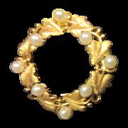 Trifari Leaf Circle Pin with Faux Pearls