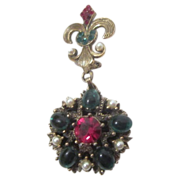 Signed Weiss Fleur-de-lis Pin with Suspended  Medallion with Rhinestones and Imitation Pearls