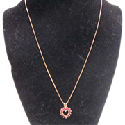 """Tiny Red Stone and Gold Plated over Sterling Heart on 18"""" Chain"""
