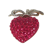 REDUCED Rhinestone Red Heart with White & Silvertone Bow Pin/Pendant