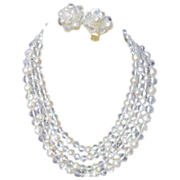 Set of 4 Strand Faux Pearls and Faux Crystals Necklace with Matching Clip Earrings
