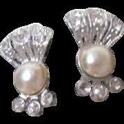 One Faux Pearl and Rhinestones Screw-on Earrings