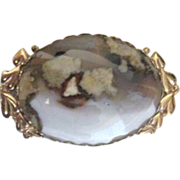 SOLD Oval Polished Scenic Stone Brooch in Heart-Leaf Setting