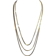 Gold Tone Triple Strand Chain Necklace