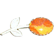 Flower Brooch with Cabochon Setting