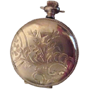 SOLD Small Gold Plated Etched Pocket Watch Case (No Watch)