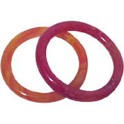 Two Solid Glass Bangle Bracelets Red and Orange Tones