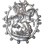 SALE Silver Brooch/Pin of St. George Slaying the Dragon