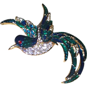 Green and Blue Gold Tone Enamel Bird Pin with Rhinestone Body
